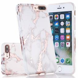 iPhone 7 Plus Case, Shiny Rose Gold White Marble Design, BAI