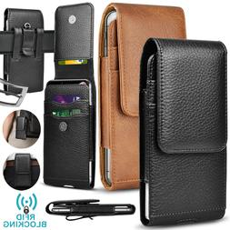 Cell Phone Holster Pouch Leather Wallet Case with Belt Loop