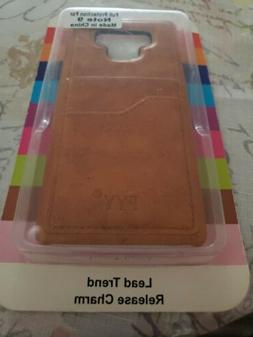 FYY Samsung Galaxy Note 9 Brown Leather Phone Case And Card