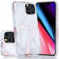 BAISRKE iPhone 11 Pro Max Case, Shiny Rose Gold Marble Desig