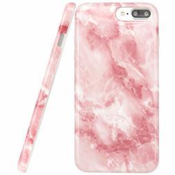iPhone 7 Case, JAHOLAN Rose Pink Jade Marble Design Slim Glo