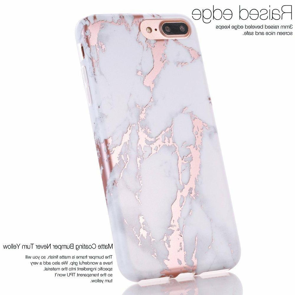 iPhone Shiny Rose Gold White Marble Design, BAISRKE Bumper