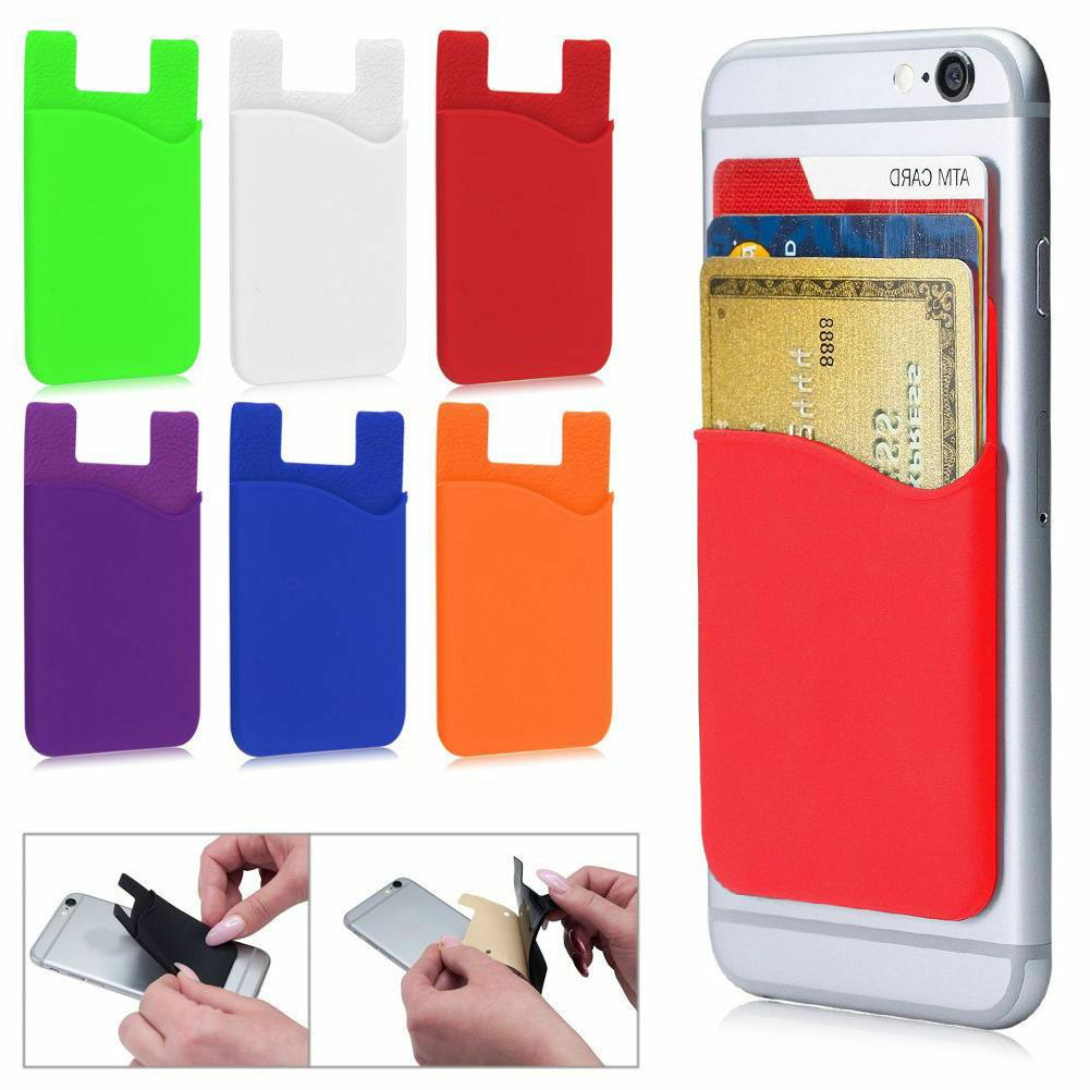 adhesive silicone credit card pocket sticker pouch