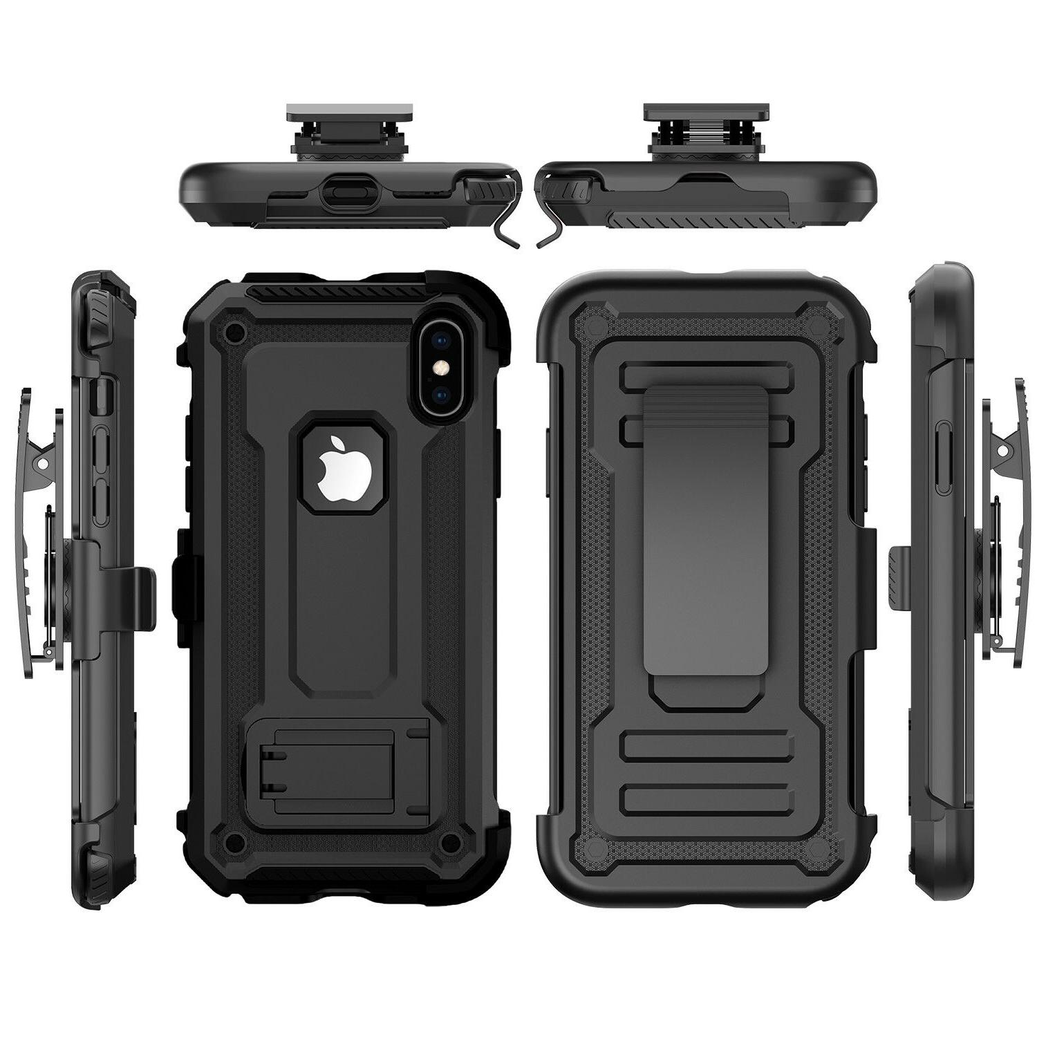 For Max/XR/X Rugged Case 360° Belt Clip Glass