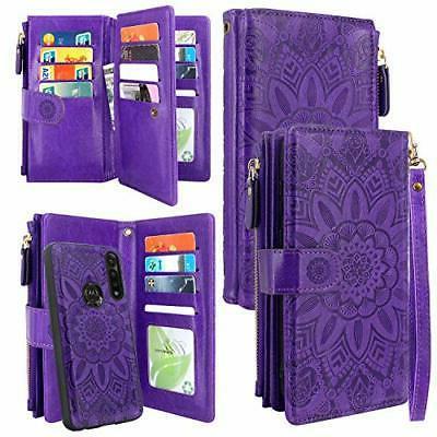 detachable magnetic zipper wallet leather case cash