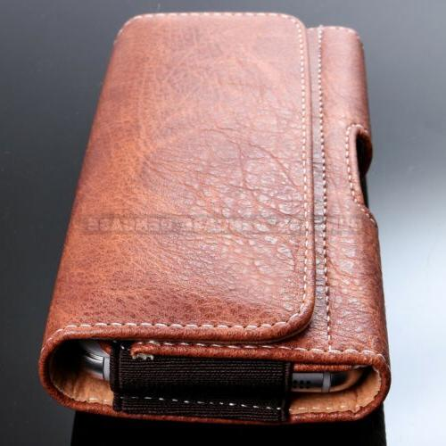 Horizontal Leather Phone Pouch Wallet Case Belt Clip Cover