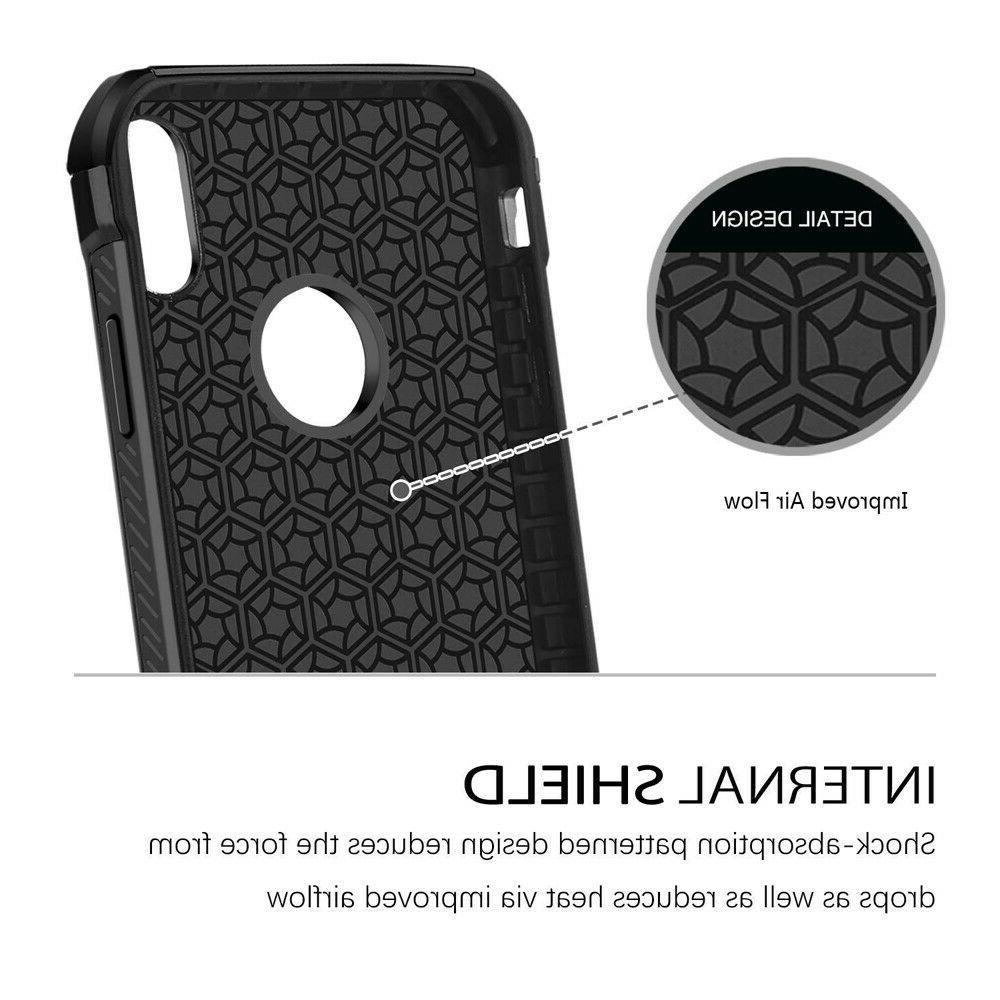 For iPhone 11/Pro/Max/XS/XR/X/8/7/Plus Carbon Fiber Hard Glass