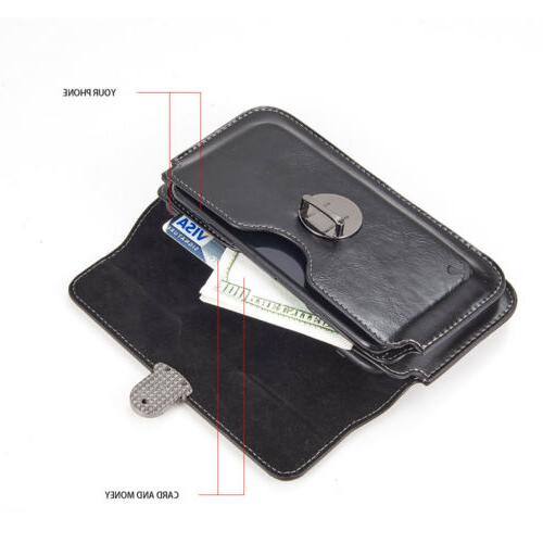 LUXMO Leather Extra Mens Cell Phone Clip Card Case Pouch