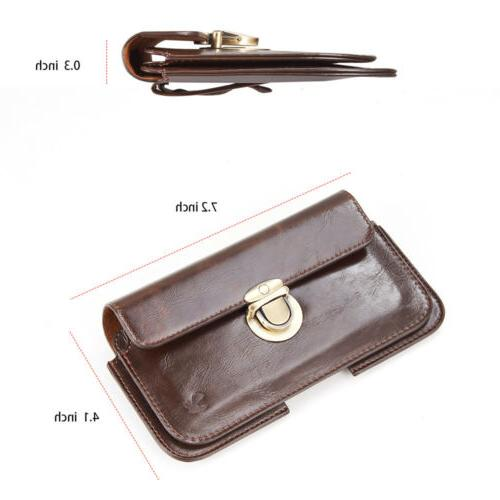 LUXMO Leather Extra Mens Cell Belt Clip Card Pouch Bag