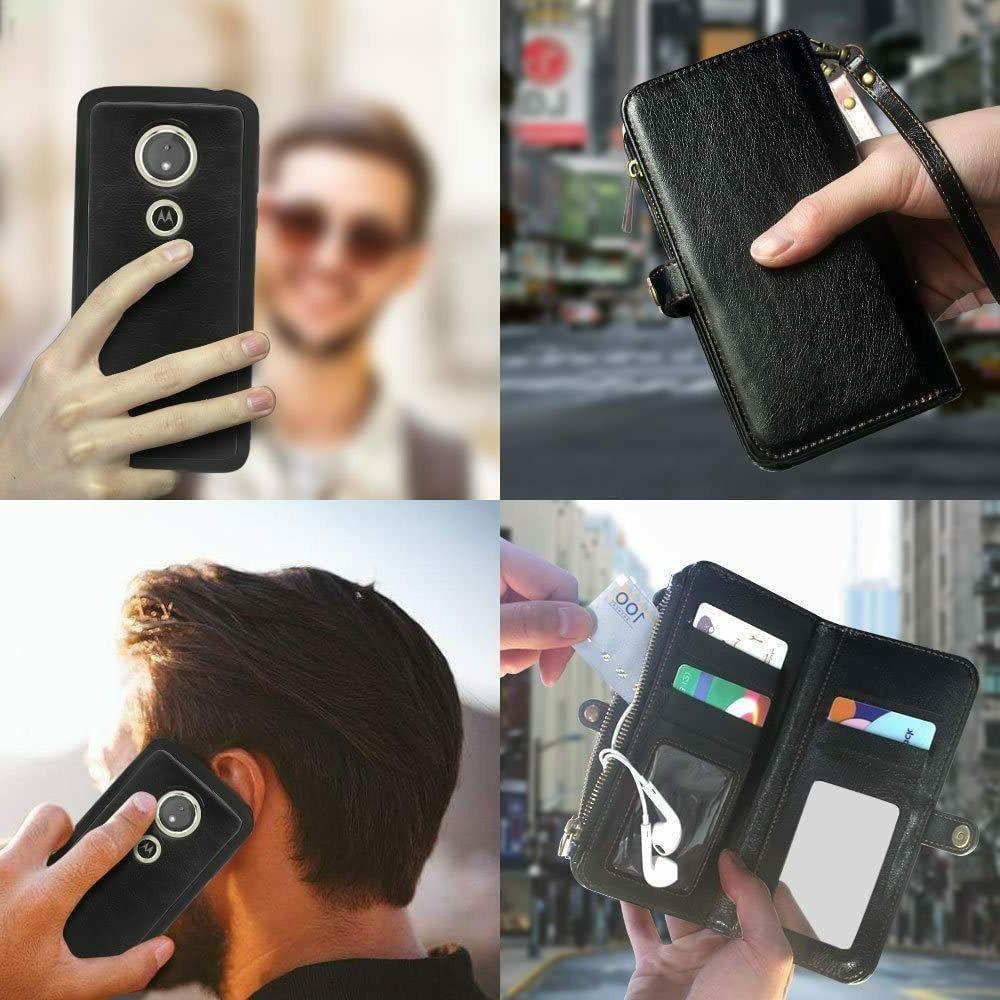 Motorola Moto / Forge Wallet Case Wrist 12 Card Slot Detachable Cover