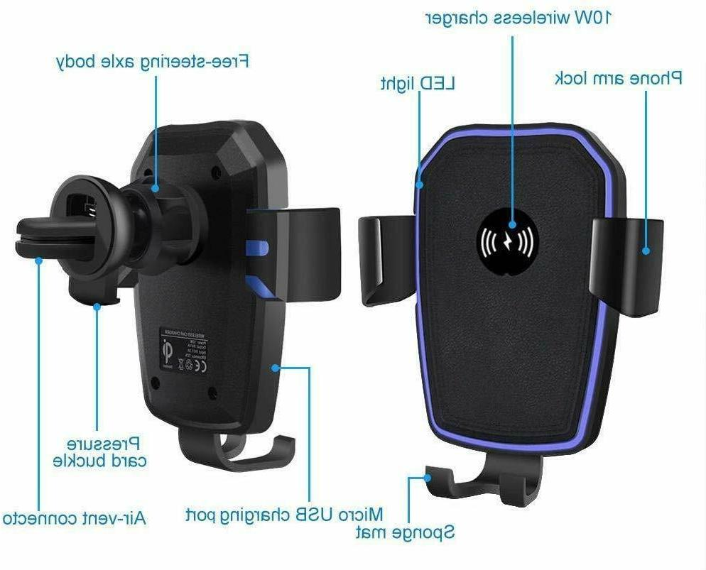 Qi Wireless Fast Charging Car Mount Stand 2 in For Phone