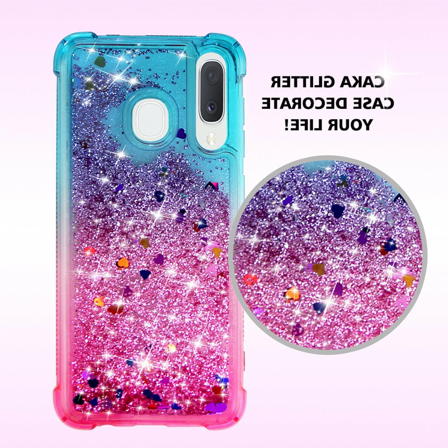 For Samsung A20 Cover Glitter Liquid