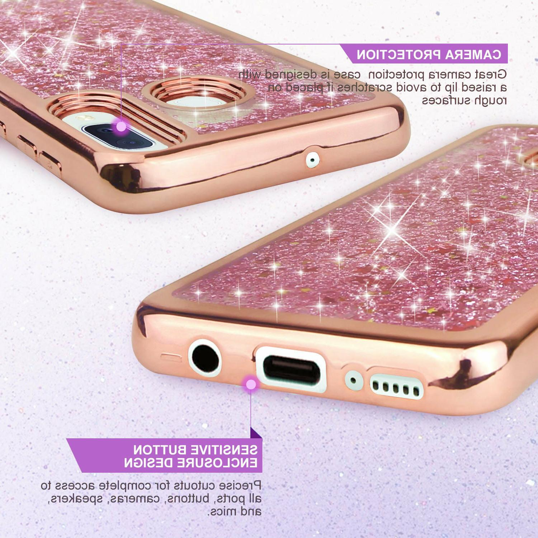 For Samsung A10E A20 Phone Case Cover, Chrome Liquid Glitter Bling
