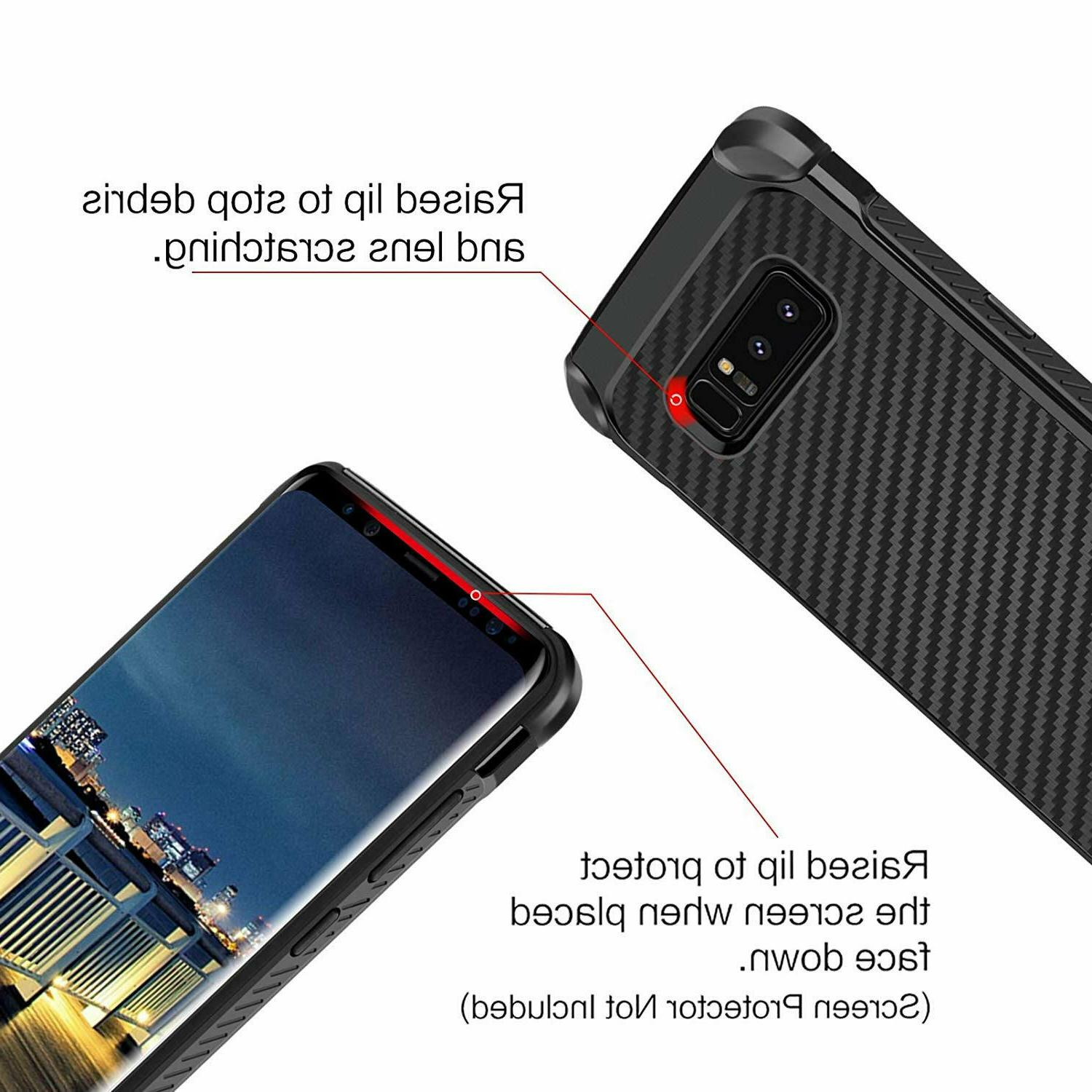 For Galaxy 8 Phone Shockproof Hybrid Carbon Armor