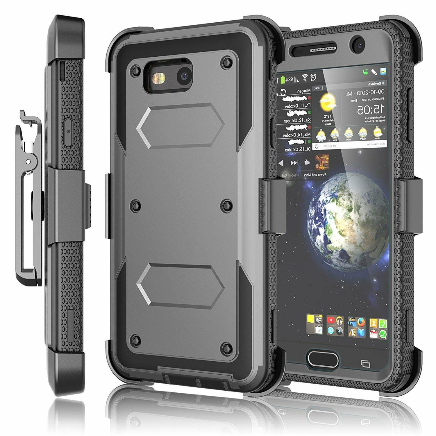 Cell Phone Shockproof Case With Clip + Screen Protector