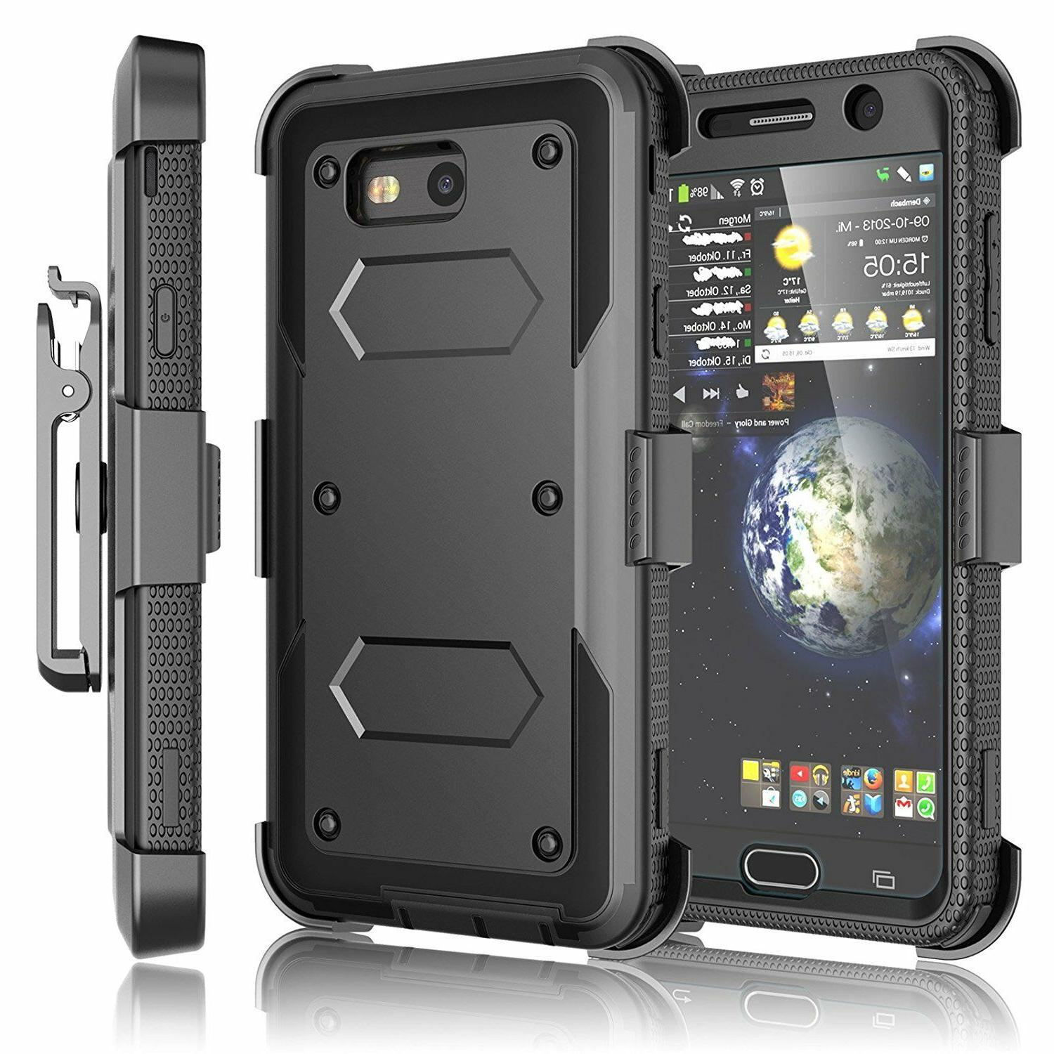 Cell Shockproof Case With Belt Kickstand + Screen Protector