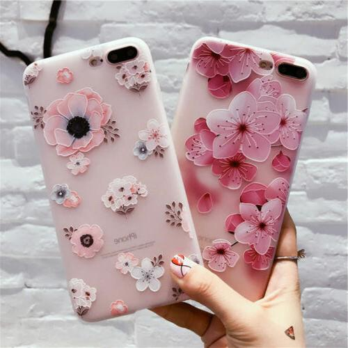 For IPhone X 8 6 6S 7 Plus Fashion Flower 3D Cute Case Cover