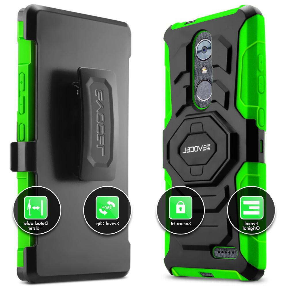 ZTE MAX Evocel Rugged Dual Holster w/ & Clip