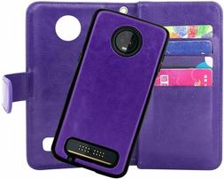 Motorola Moto Z3/Z3 Play Wallet Case Magnetic Detachable PU