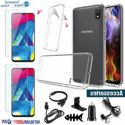 For Samsung Galaxy A10e A20 A30 A50 Clear Case + Tempered Gl