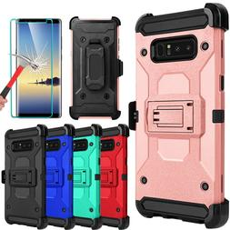 For Samsung Galaxy Note 8 Armor Case With Kickstand Belt Cli