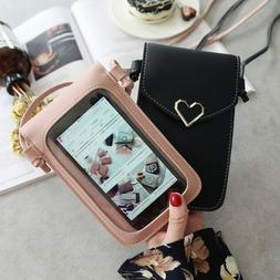 Shoulder Bag pack Card Wallet With strap Cross body Pouch PU