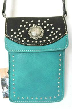 Teal and Black Cell Phone Crossbody BagSilver Studs Concho F