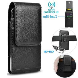 Vertical Cell Phone Holster Pouch Leather Wallet Case Univer