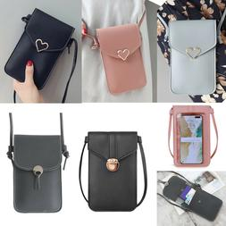 Women Crossbody Purse PU Leather Card Slot Shoulder Bag Wall