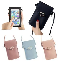 Women Heart Purse Leather Crossbody Shoulder Bag Wallet Case