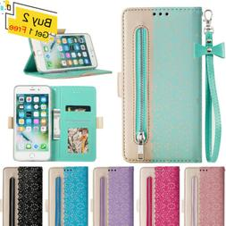 WOMEN Lace Leather Wallet Card Slot Stand Flip Case Cover Fo