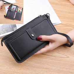 Women's Leather Wristlet Clutch Phone Wallet US Card Slots P