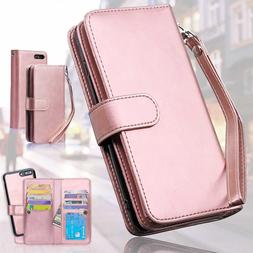 Women's Wallet Card Slot Leather Case Slim Cover for iPhone