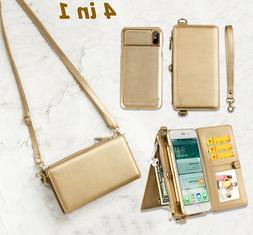 Women Wallet Bag Case Leather Detachable Phone Cover Shoulde